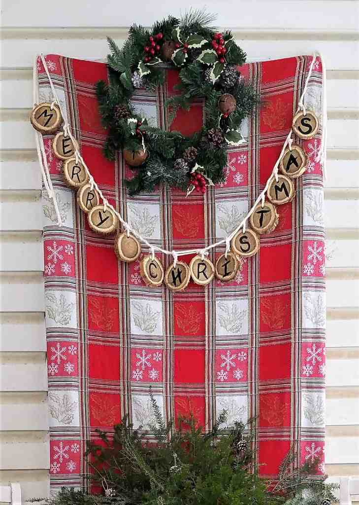 Christmas porch decor- garland and wreath