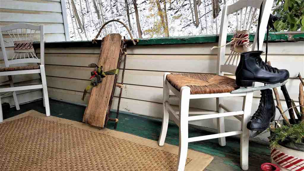 Christmas porch decor- wooden sled