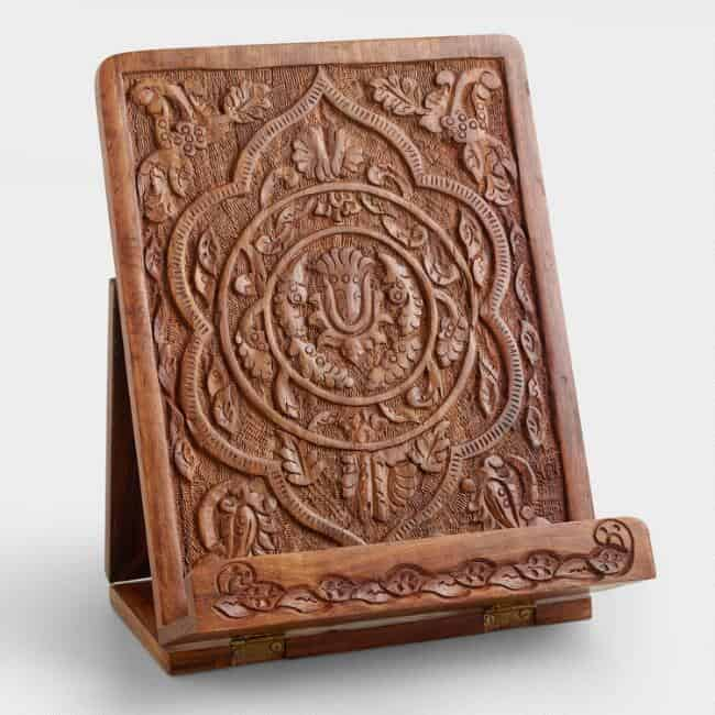 Hand Carved Wood Tablet Stand-last minute gifts