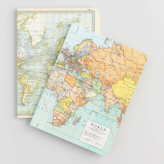 Vintage Maps Journel Set of 2- last minute gifts