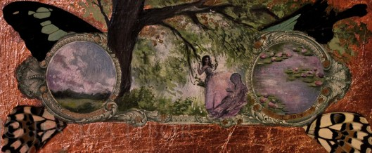 """Fragonard's Garden"", oil, rose gold leaf, and butterfly wings on US dollar bill, 2""x6"", Jessica Libor 2013"