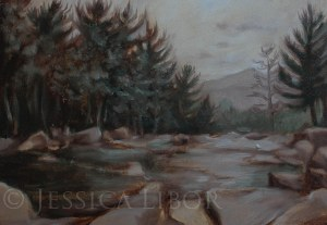 "Jackson Falls, study, oil on panel, 4""x6"", Jessica Libor 2013"