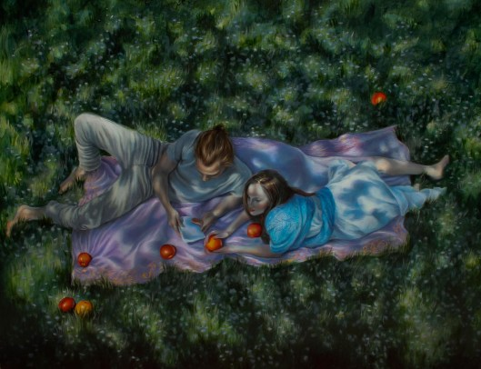 """The Reading, oil and 23 karat gold on panel, 16""""x20"""", Jessica Libor 2014"""