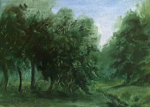 "Narberth Park, oil on panel, 4""x6"", Jessica Libor 2014"