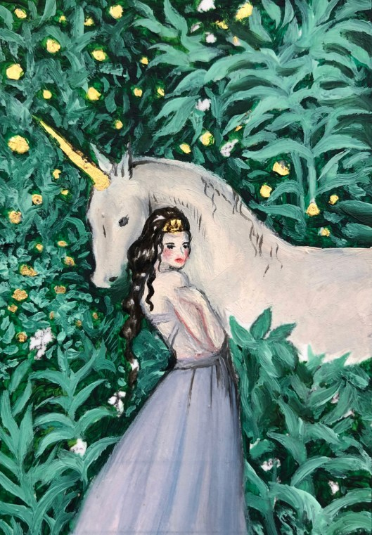 Forest Royalty, oil and 23 karat gold on paper, 2.5 x 3.5, by Jessica Libor 2019