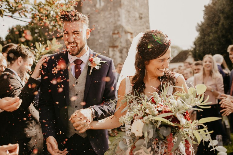 Confetti shot captured by a Surrey Wedding Photographer