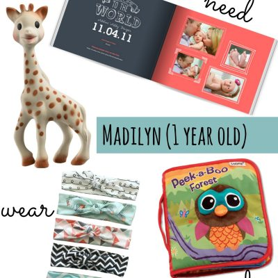 Want, Need, Wear, Read for a 1-Year-Old Girl
