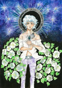 """""""Cover for The Wish Bringer novel"""", graphite, watercolours, acrylics and silver leaf on A3 sized paper, 2014"""