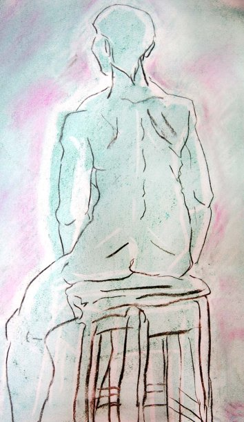 """woman sitting, minimal line work"", charcoal, pastels and chalk on A2 sized paper, 2014"