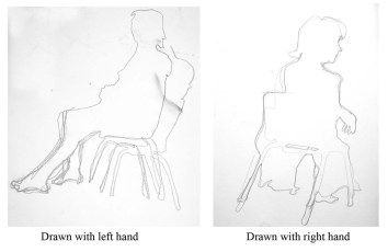 """silhouettes left and right handed drawings"", graphite on A2 sized paper, 2014"