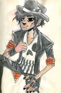 """Skull Shirt"", watercolours, coloured pencils, ink, Jessica McLeod-Yu, 2016"