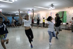 The Patronato, a vibrant cultural and community center and place of worship for Cuban Jews, has a practice space for choreographing dances. Here, University of Miami Hillel students join in Rikudim, or Israeli folk dancing, with teens from the congregation. Photo credit: Jessica M. Castillo