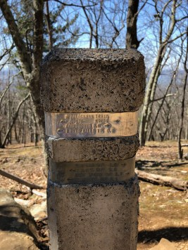 trail sign post along the hiking trial in shenandoah