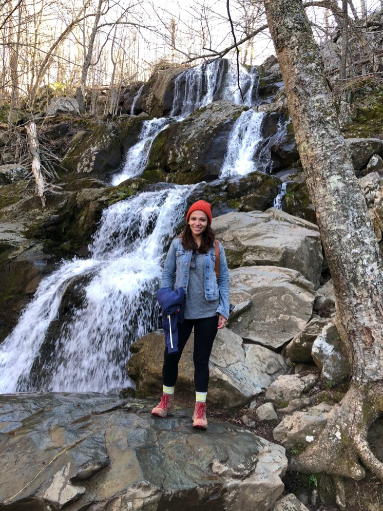 Me hiking the Dark Hollow Falls Trail in Shenandoah National Park in Virginia in 2018. This is at the lower falls of Dark Hollow Falls.