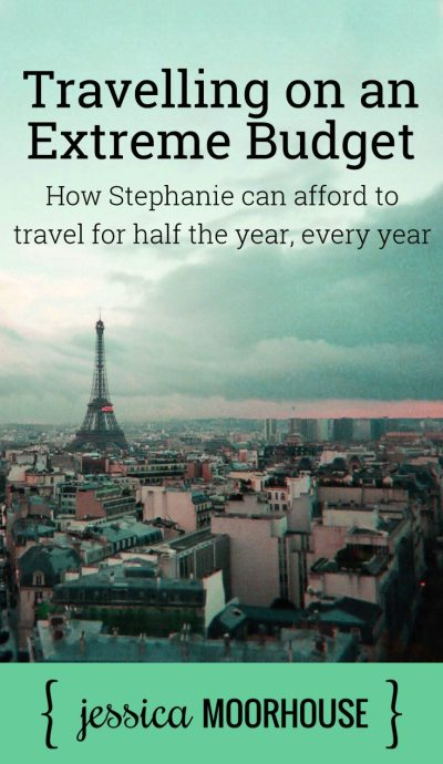 Travelling on an extreme budget - How Stephanie can afford to travel for half the year, every year. You may be wondering if she's an heiress or something, because how could anyone afford to take off half the year every year to travel? No, she's no heiress (that I know of?), so you'll just have to listen to the episode to find out how she does it.