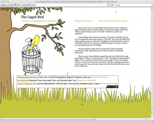 The Caged Birds University of Illinois School of Art and Design Student Works in Web Design