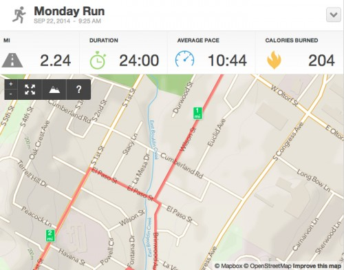 Running Activity 2.24 mi - RunKeeper