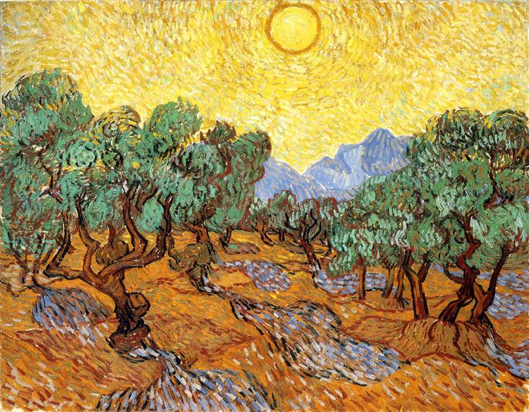 Olive Trees with Yellow Sky and Sun oil painting by Vincent Van Gogh