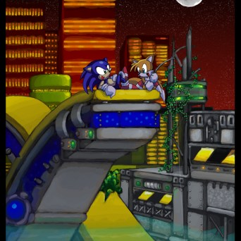 Sonic and Tails revisiting the Chemical Plant Zone. This picture's very rough when I look back on it (the water is sloppy), but I still kinda like it.