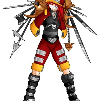A robot character with wacky extendable weapons hidden in her arms.