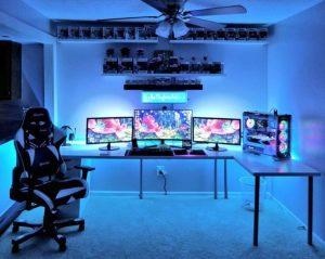 gaming setup rooms computer desk pc decor games thedestinyformula escritorios shelves space chair floating desks awesome