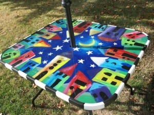 hand painted patio table