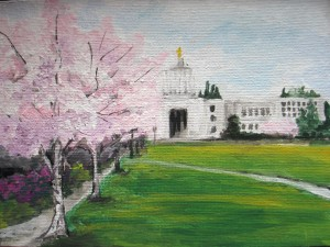 Painting of the Oregon State Capitol in Spring, Cherry trees