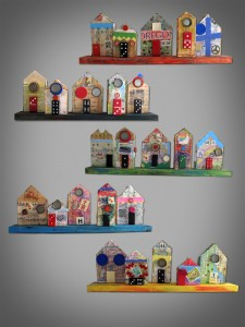 collaged house, children's art, kid art, classroom project, auction