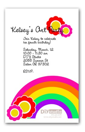 custom invitation, rainbow, flowers, art, crafts, girl, girly