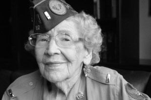 """Alma Geraldine Haller. Born 1919, New Mexico. Haller was one of the first waves of women who served during WWII in the Women's Army Corps, during which she was assigned to a secret mission delegated to the womens corps. She and her comrades lived in underground bunkers in Washington, D.C. and tracked aircraft that entered the D.C. radius. """"I always tried to do the very best at what I did. I love to see girls accomplish things. I would tell them, take advantage of every opportunity that is handed to them. So many things slip by you at that age."""""""
