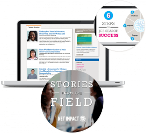Content that meets user needs: screenshots of Net Impact career content, including the 'Stories from the Field' video series.