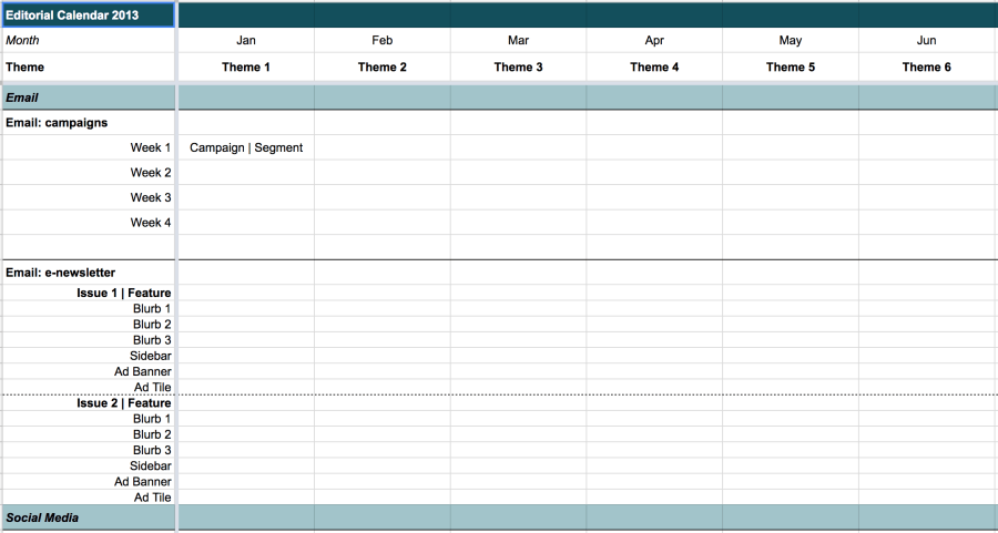 Excerpt of editorial calendar template spreadsheet: Communication channels are listed down column 1, while months and their corresponding themes are listed across the top row.