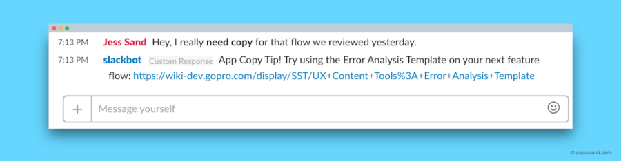"Screenshot of a SlackBot response. A user has posted a message using the keywords ""copy ticket,"" and the SlackBot has posted a relevant response that includes a link to a helpful document."