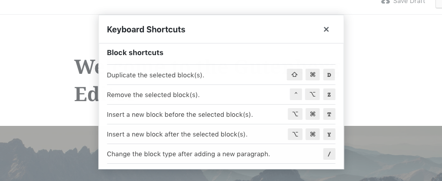 A screenshot of some of Gutenberg's keyboard shortcuts appears in a pop-up modal over the editor.