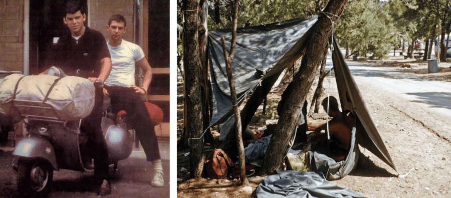 Left photo shows my dad sitting on a Vespa with a duffel bag across the front and his best friend sitting behind him. Right photo shows their lean-to tent strapped to some trees on the side of a dusty road.