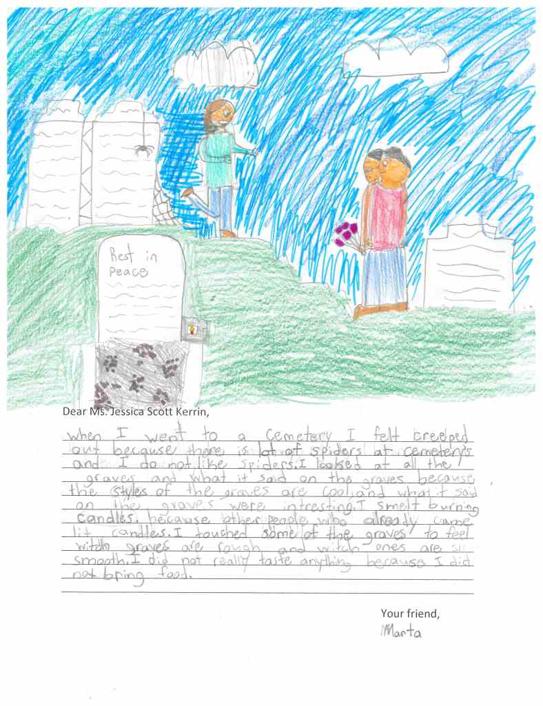 Child's drawing of a cemetery