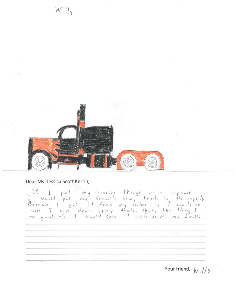 Child's drawing of truck with painted flames