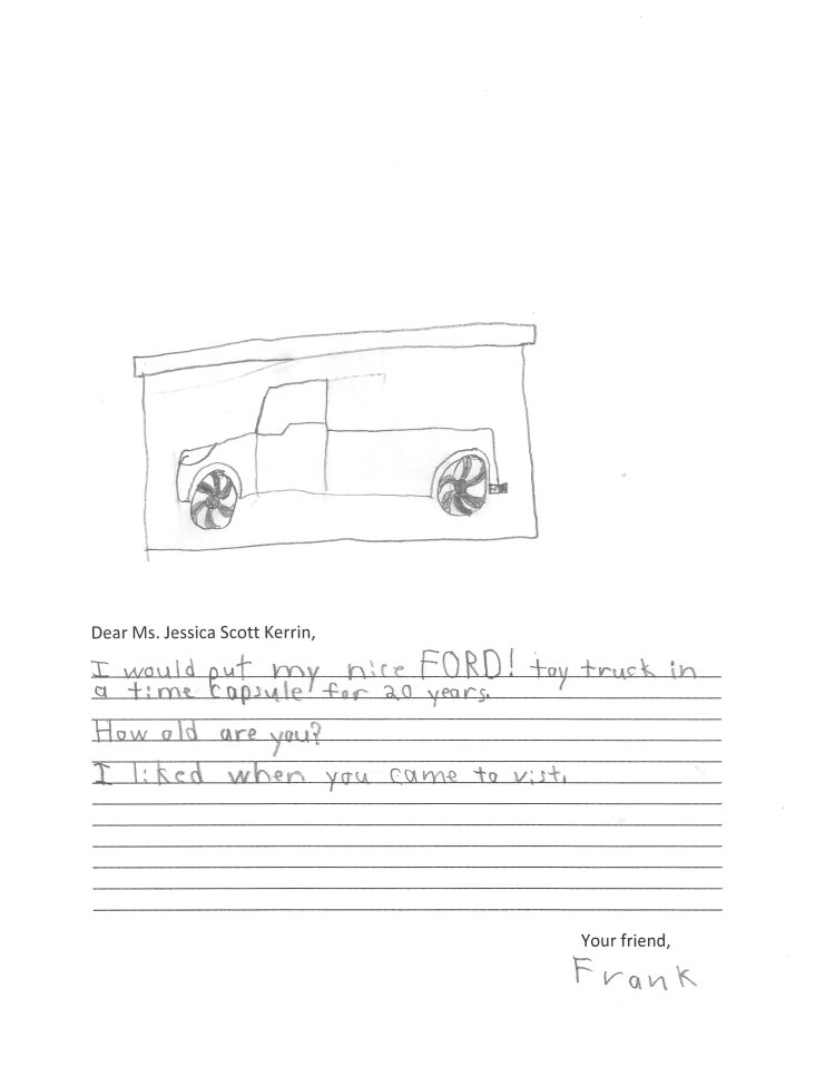 Child's drawing of a truck with fancy hubcaps