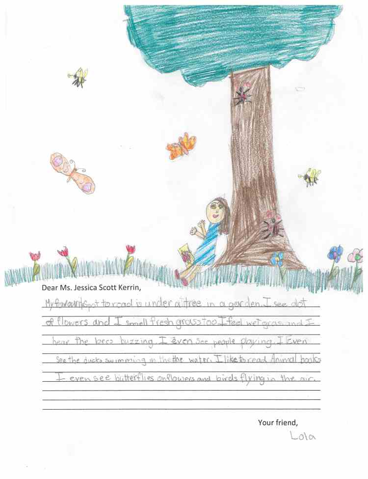 Child's drawing of spring scene with tree and butterflies