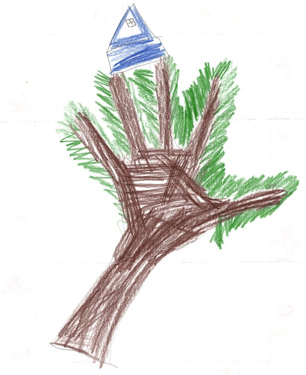 Child's drawing of a tree house