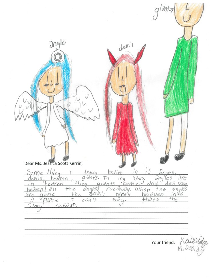Child's drawing of an angel and a devil
