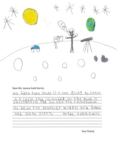 Child's drawing of the Earth as seen from the Moon