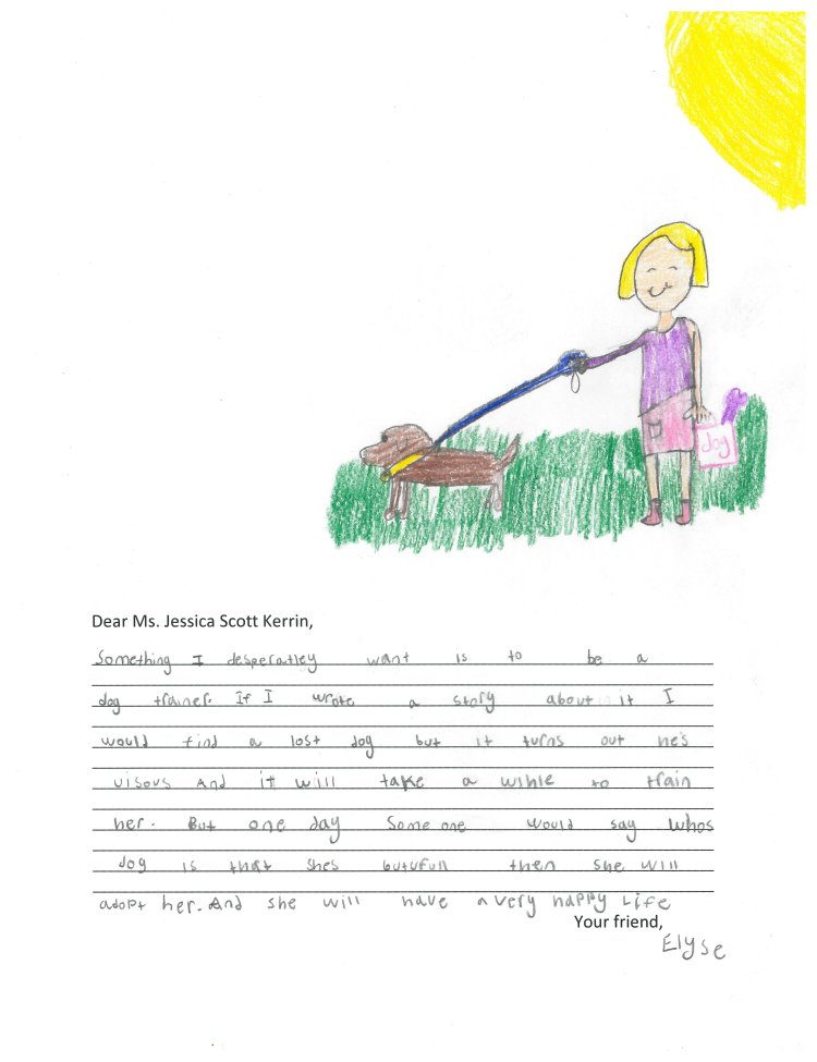 Child's drawing of a girl walking a dog on the lawn with the sun shining