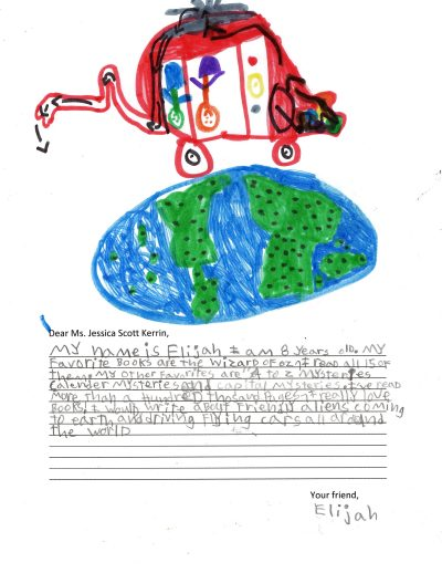 Child's drawing of an alien space craft flying over Earth