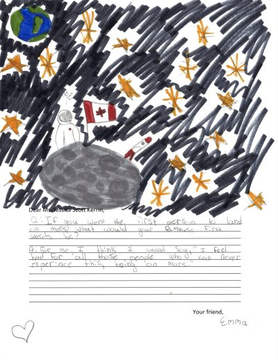 Child's drawing of a starry sky featuring Mars and a Canadian flag