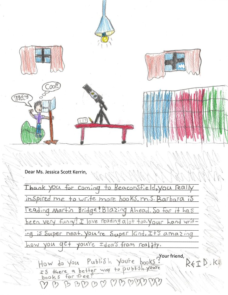 Child's drawing of a bedroom with a telescope