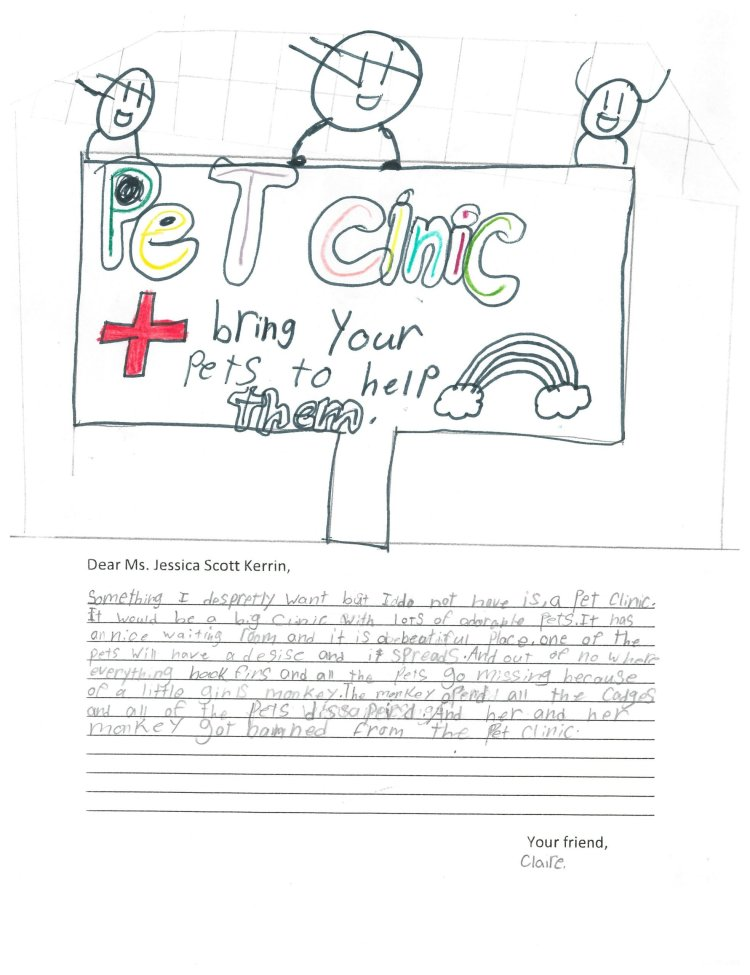 Child's drawing of a pet clinic with three vets