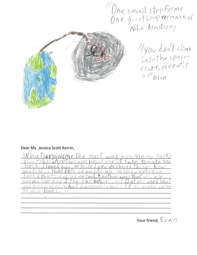 Child's drawing of Earth and the Moon with an astronaut