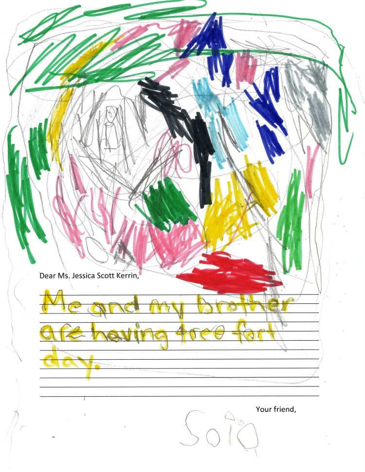 Child's drawing of a tree fot with lots of colours