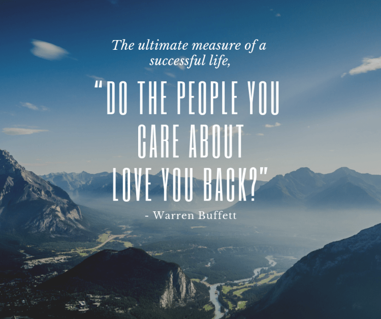 Photo of mountains with Warren Buffett quote